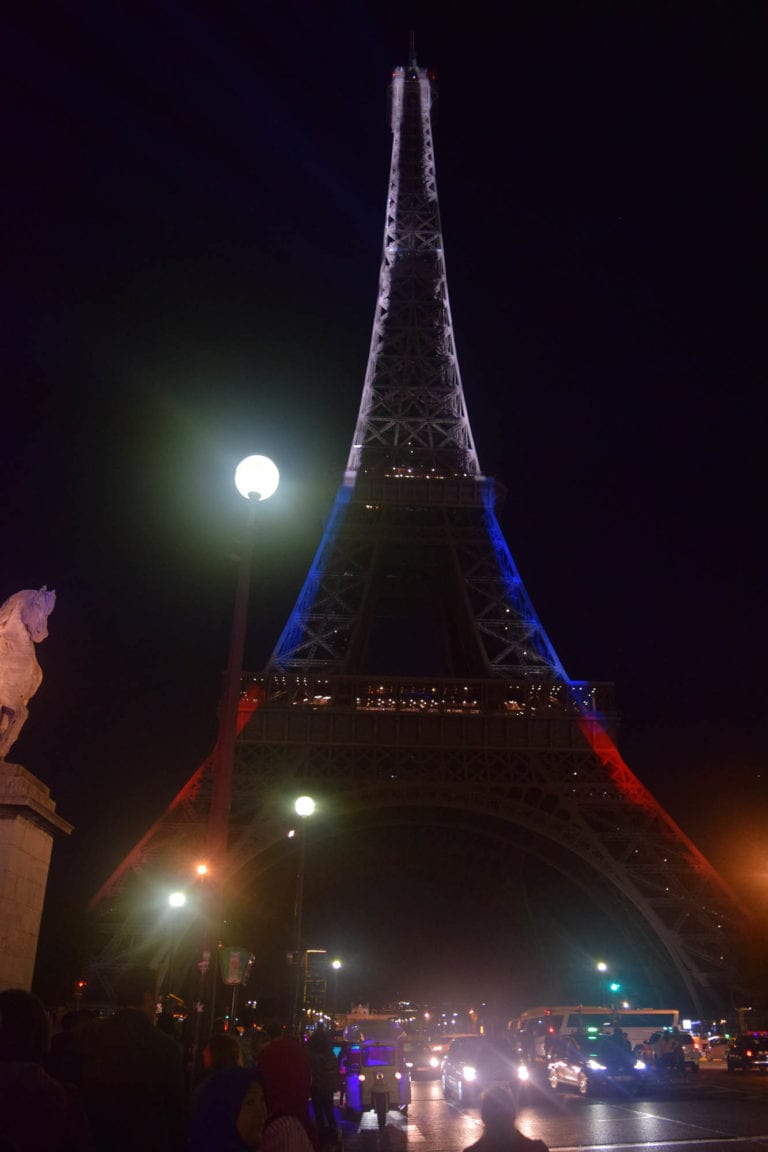 Eiffel Tower, Paris, France with French colors projection