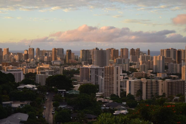 The Cost of Living In Hawaii. Sunset view over Honolulu
